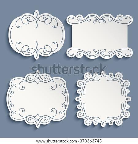 Set of vector labels, cutout paper frames with flourish decoration, vintage ornamental calligraphic vignettes - stock vector