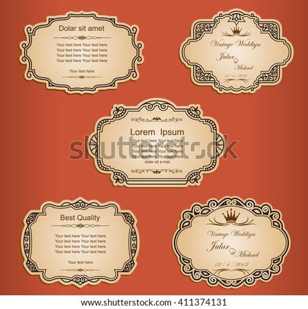 Set of vector labels, cutout paper frames with flourish decoration, vintage ornamental calligraphic vignettes - stock vector