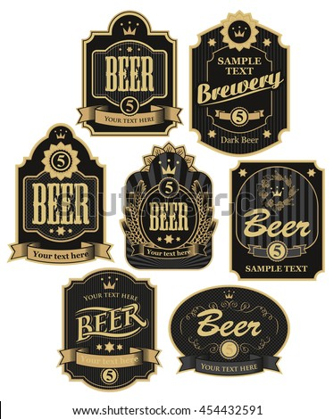 set of vector labels for beer in retro style