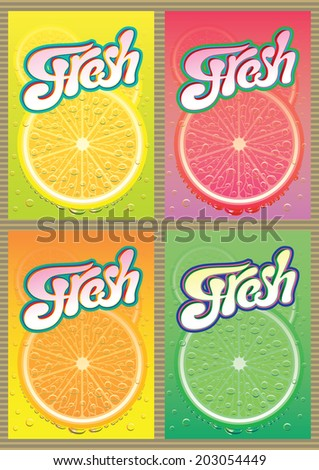 set of vector labels for packaging juice - stock vector