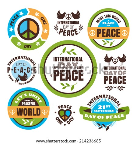 Set of vector labels for the International Day of Peace - stock vector