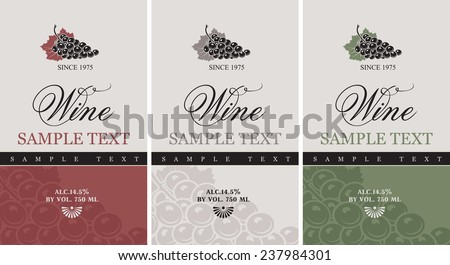 set of vector labels for wine with grapes - stock vector