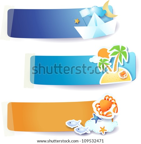 Set of vector labels, holidays on the beach theme - stock vector