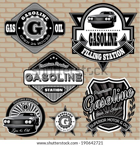set of vector labels on the topic gasoline - stock vector