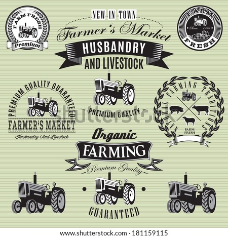 set of vector labels with a tractor for livestock and crop - stock vector