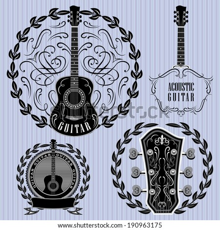 set of vector labels with acoustic guitars - stock vector