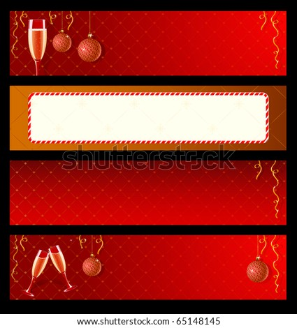 Set of vector labels with champagne and decorations for New Year - stock vector