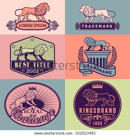 Set of vector labels with main lion design theme. Logo templates,badges,emblems,signs color graphic collection. Product promotion and advertising symbols isolated on color background - stock vector