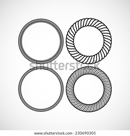 Set of vector lace frames design templates. Graceful line art logo design elements - stock vector