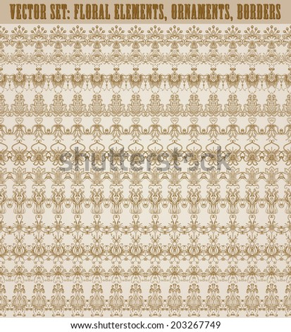 Set of vector lace pattern, decorative elements, borders for design. Seamless ornament. Page decoration