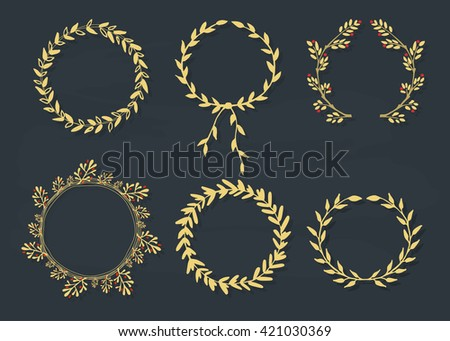 Set of vector laurel wreaths. Vintage designs. Leaves and branches round frames. Hand drawn sketch style. - stock vector
