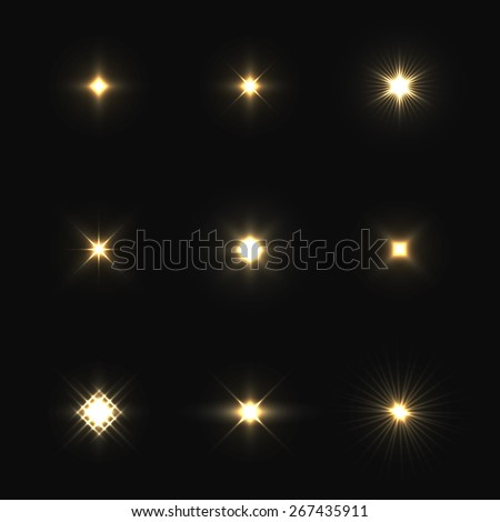 Set of vector lens flares isolated on black background. - stock vector