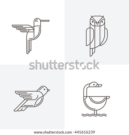 Set of vector line art logo with birds. Outline illustrations of hummingbird, owl, pigeon and swan. Trendy icons and design elements.  - stock vector