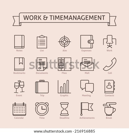 Set of vector line icons for productivity, personal development, timing, time management, work schedule, planning working day, events, trips, expenses, reaching goals isolated on light background  - stock vector
