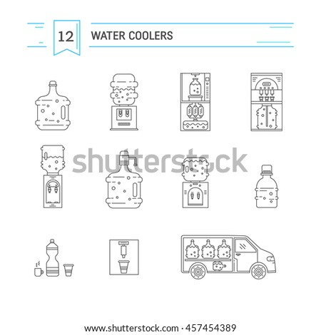 Set of  vector  line icons for water delivery business. Water bottles, water coolers, water delivery car isolated on white background. Design elements for business, website, mobile and app.  - stock vector