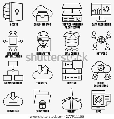 Set of vector linear cloud computing icons - part 2 - vector icons - stock vector