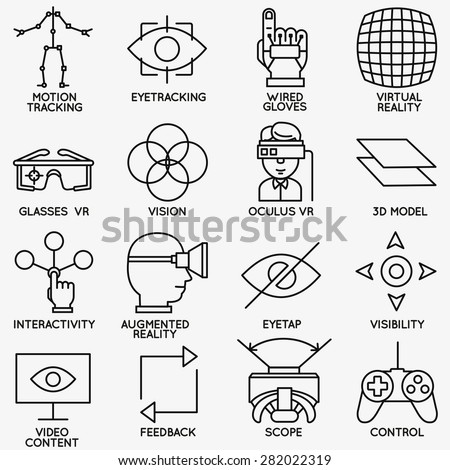 Set of vector linear icons of devices for virtual reality - vector icons - stock vector