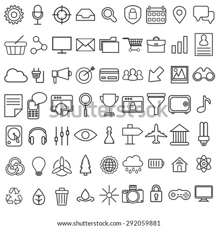 Set of vector linear media service icons.