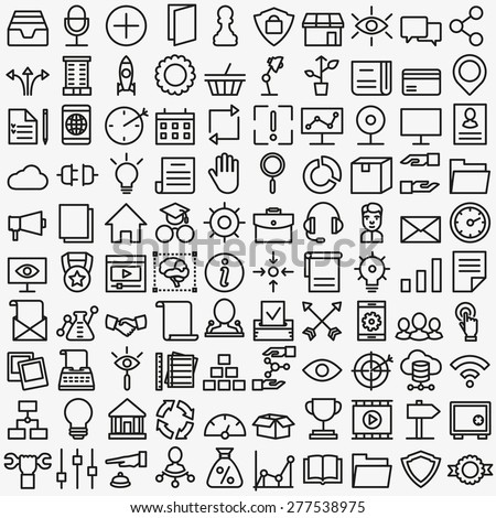 Set of vector linear media service icons. 100 icons for design - vector icons - stock vector