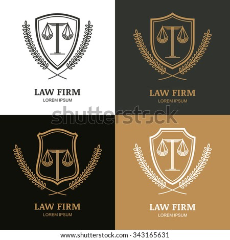 Set of vector linear vintage law firm logo template. Trendy abstract illustration of scales, shield, laurel wreath. Design concept for law and legal business, heraldic emblem, lawyer, label, badges.
