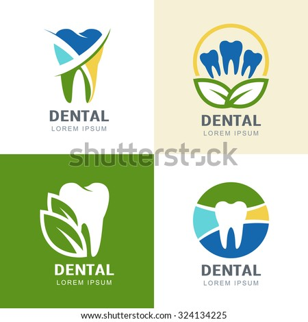 Set of vector logo icons design. Multicolor tooth and green leaves illustration. Creative concept for dental clinic, dentist and medicine. - stock vector