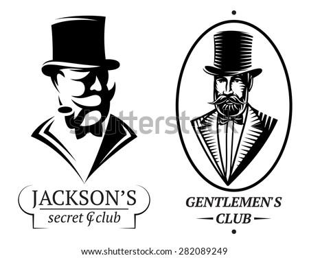 set of vector logo templates for gentlemen's club - stock vector