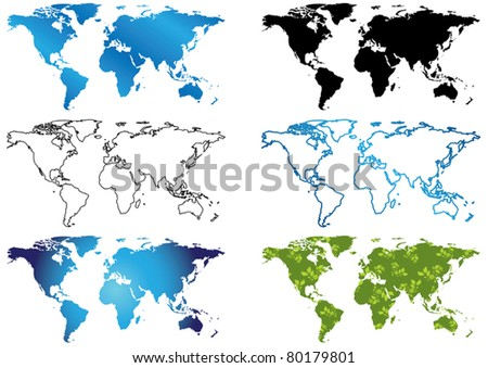 set of vector maps of the world - stock vector
