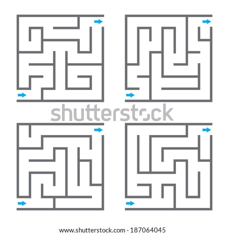 Set of vector mazes - stock vector
