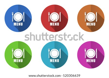 Set of vector menu icons. Colorful round web buttons. Flat design pushbuttons.