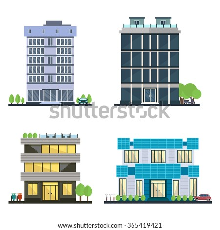 Set of vector modern business center with diverse architecture facades.Houses and office buildings in a big city. Shops and cafes, offices. Elements for the construction of urban landscapes. Flat  - stock vector