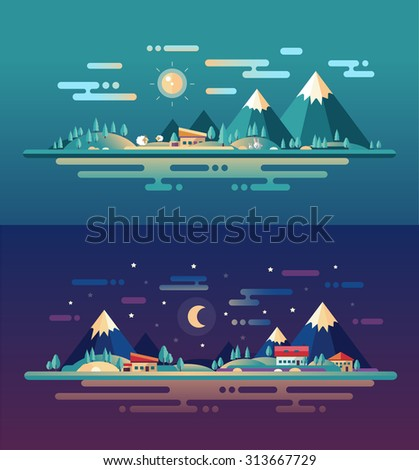 Set of vector modern flat design conceptual landscapes with animals, houses and mountains. Illustrations of beautiful forest scenes. - stock vector