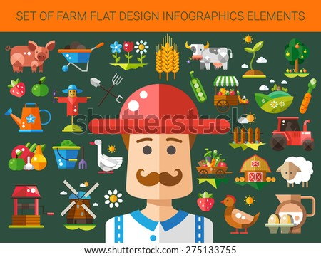 Set of vector modern flat design farm and agriculture icons and elements - stock vector