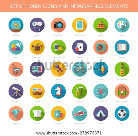 Set of vector modern flat design hobby icons and infographics elements - stock vector