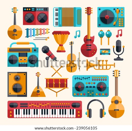 Set of vector modern flat design musical instruments and music tools icons - stock vector