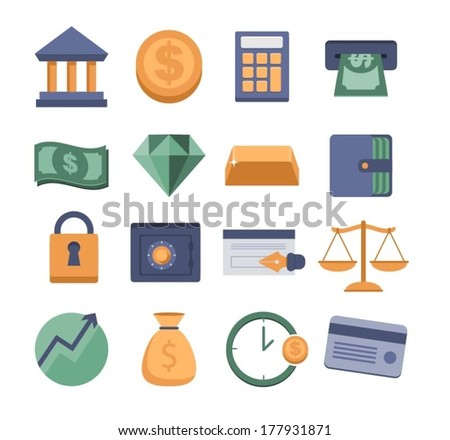 set of vector modern money and finance icons