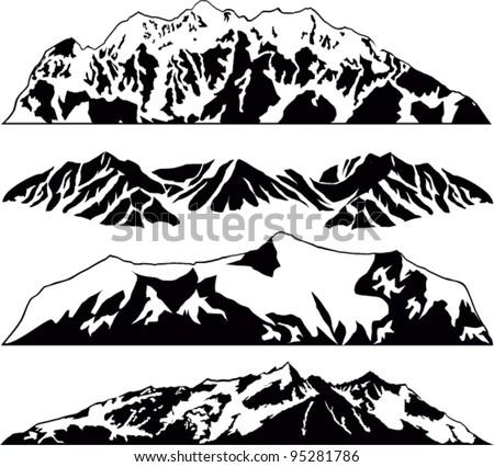 Set of Vector Mountains Emblem - stock vector