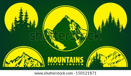 Set of Vector Mountains Emblems - stock vector