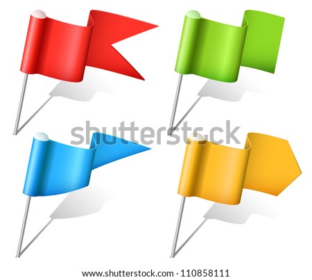 Set of vector multicolored flag pins - stock vector