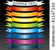 Set of vector Multicolored Ribbons, Banners for your own text or design - stock vector