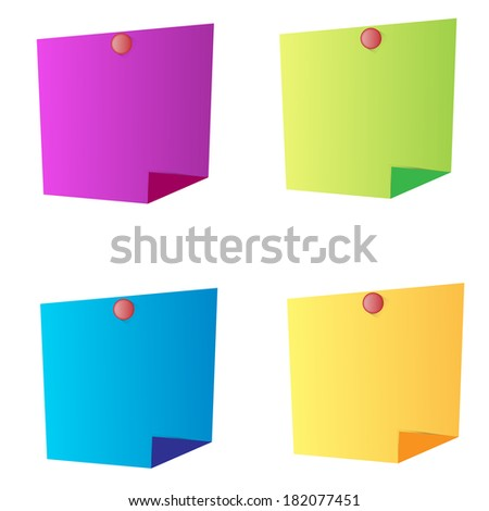 set of vector multicolored sheets for notes