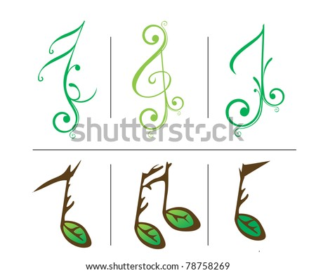 set of vector music notes for design element. - stock vector