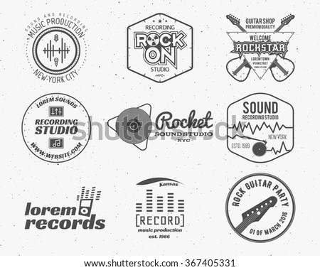 Set of vector music production logo,label, sticker, emblem, print or logotype with elements - guitar, sound recording studio, t-shirt, sound production. Podcast and radio badges, typography design - stock vector