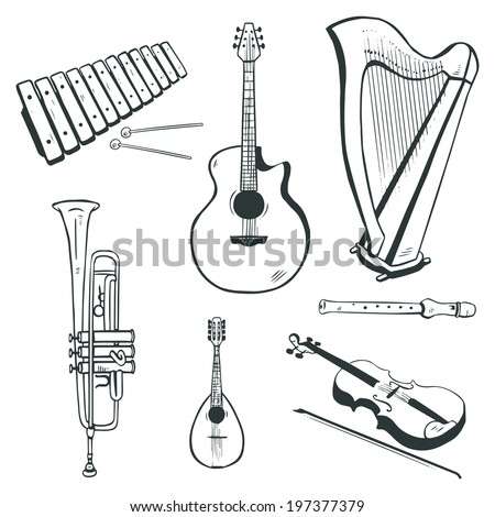 Set of vector musical instruments: acoustic guitar, harp, mandolin, xylophone, trumpet, flute, violin
