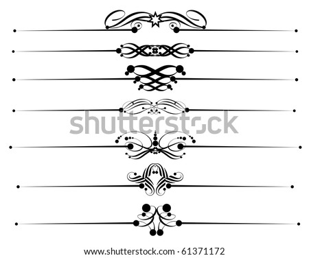 Set of vector of calligraphic design elements: vintage ornaments and dividers baroque objects to decorate the pages - stock vector