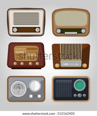 set of vector old radios - stock vector