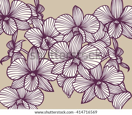 Set of vector orchids. Isolated orchids on a light background - stock vector