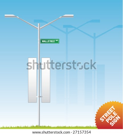 Set of vector outdoor advertising [Street Pole Sign] - stock vector