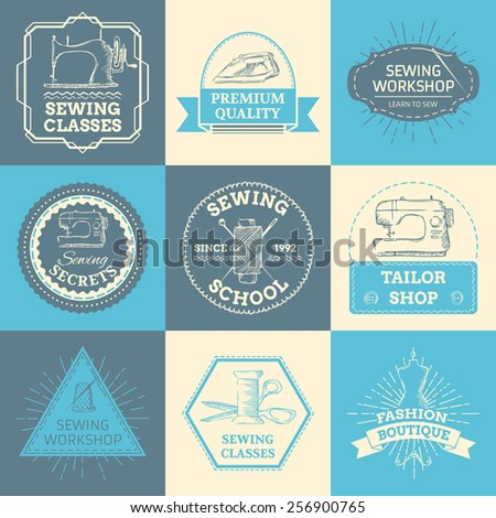 Set of vector outline logo templates. Sewing and fashion. Retro linear badges, labels, ribbons, frames and emblems. There is place for your text. - stock vector