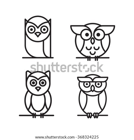 Set of vector owls, who are sitting on a tree branch. Cute owls cartoon characters made in line art style. - stock vector