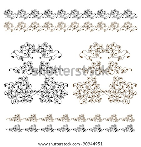 Set of vector page decoration elements or monograms for design. - stock vector